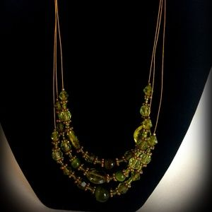 Vintage Green Glass Beaded Necklace W/ Gold Cord